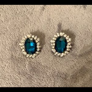 """1.5"""" Blue Topaz Surrounded By CZs Clip On Earrings"""